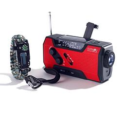 Solar + Hand Crank AM FM Radio Emergency NOAA Weather Radio