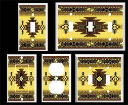 SOUTHWEST DESIGN GOLDEN AND BROWN PLASTIC  LIGHT SWITCH COVE