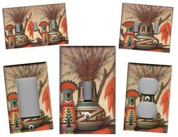 SOUTHWEST VASE AND KACHINA HOME DECOR LIGHT SWITCH PLATES AN