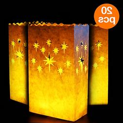 Go Luminary Bags 20 Piece Special Luminary Bags with Stars,