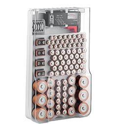 The Battery Organizer Storage Case with Hinged Clear Cover,