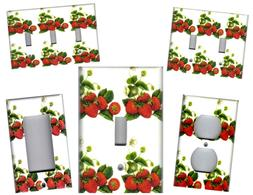 STRAWBERRIES ON WHITE KITCHEN HOME DECOR LIGHT SWITCH PLATES