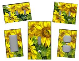 SUNFLOWERS WITH GREEN LEAVES KITCHEN HOME DECOR LIGHT SWITCH