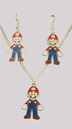 "Super Mario 16"" Necklace and Earrings Gift Boxed with Free O"