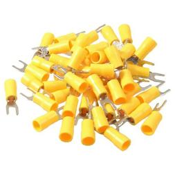 DealMux 50 Pcs SV5.5-4S AWG 12-10 Yellow Pre Insulated Fork