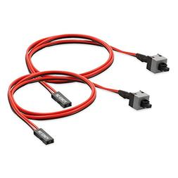 Electop 2 Pack 2 Pin SW PC Power Cable on/Off Push Button AT