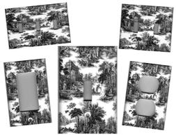 TOILE BLACK AND WHITE HOME WALL DECOR LIGHT SWITCH PLATES AN
