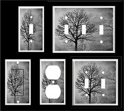 TREES FOREST BLACK GRAY  TONES LIGHT SWITCH COVER PLATE