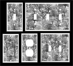TREES FOREST GRAY TONES DESIGN 5  LIGHT SWITCH COVER PLATE