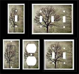 TREES FOREST SEPIA TONES LIGHT SWITCH COVER PLATE  OR OUTLET
