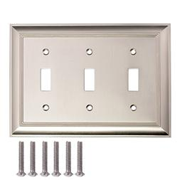 AmazonBasics Triple Toggle Wall Plate, Satin Nickel, 1-Pack