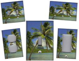 TROPICAL PALM TREE ON THE BEACH HOME WALL DECOR LIGHT SWITCH