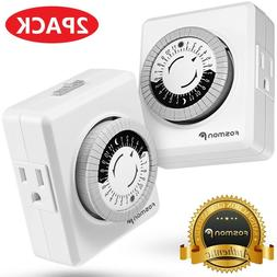 2x Indoor 24-Hour Plug In Daily Mechanical 2 Outlet Timer Li
