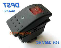 US Stock Red Light DPST OFF/ON Rocker Switch RK1-06 Double P