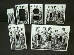 VICTORIAN LADIES BLACK AND WHITE IMAGE 1  LIGHT SWITCH COVER