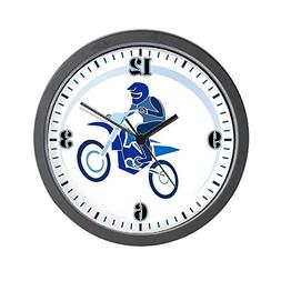 Wall Clock Motocross MX Flying Dirt Bike in Blue