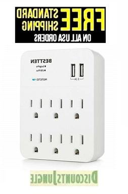 BESTTEN Wall-Mount Power Outlet 6 AC Socket Surge Protector