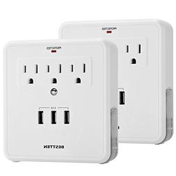 BESTTEN Wall Tap Adapter Outlets, 3 Electrical Sockets and