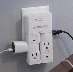 ECHOGEAR On-Wall Surge Protector with 6 Pivoting AC Outlets