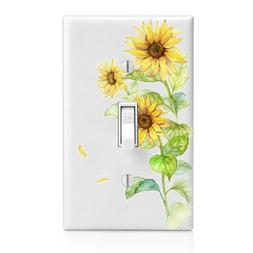 Watercolor Sunflowers Light Switch Cover, Home Decor, Night
