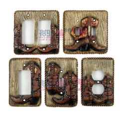 Western Boots Light Switch Plate Covers Faux Wood Look Rope