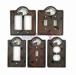 Western Horse Light Switch Plate Covers Stitched Faux Leathe