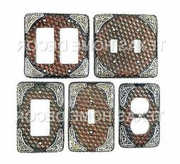 Western Rustic Light Switch Plate Cover Faux Woven Leather L