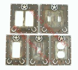 Western Star Light Switch Covers Silver Studs Wood Look Hors