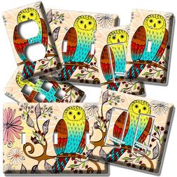 WHIMSICAL OWL TREE FLOWERS LIGHT SWITCH WALL PLATE OUTLET NU