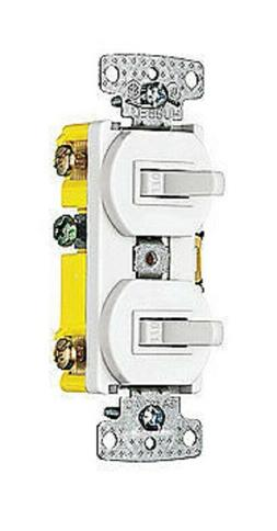 Hubbell White Double Wall Light Switch Duplex Toggle 15A Sin