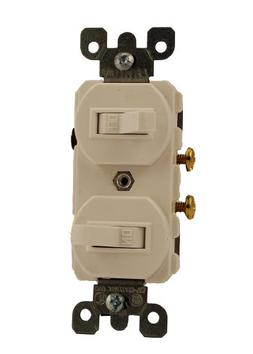 Leviton White Duplex Double Toggle Wall Light Switch 15A Sin
