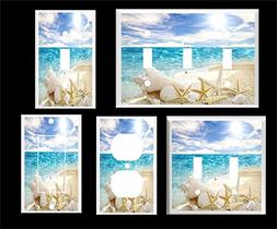 WHITE SEA SHELL STARFISH ON THE BEACH OCEAN LIGHT SWITCH COV