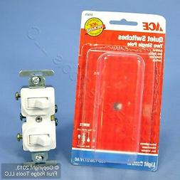 White Single Pole DOUBLE Toggle Wall Light Switch Control Du