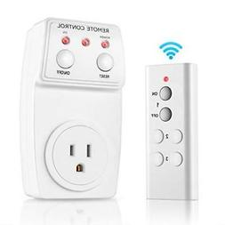 White Wireless Electrical Outlet Switch RF Remote Control On