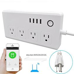 WiFi Smart Power Strip Socket with Alexa,Weton Multi-Plug Ti