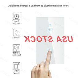 WiFi Smart Touch Panel 2 Gang US Plug Light Switch APP for A