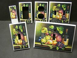 WINE AND GRAPES  FRUIT   KITCHEN DECOR LIGHT SWITCH COVER PL