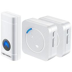 Homasy Wireless Doorbell Kit, 2 Plug-in Receivers& 1 Waterpr