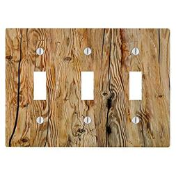 Wood Rustic Light Wooden Background 3 Toggle Electrical Swit