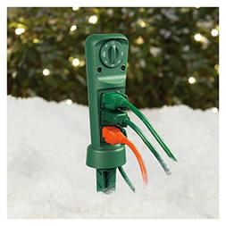 ECOPlugs Outdoor Yard Stake Timer, Mechanical Light Timer Sw