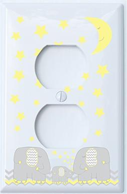 Yellow Elephant Outlet Switch Plate Covers with Yellow Moon