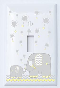Yellow and Grey Dandelion Elephant Light Switch Plates Cover