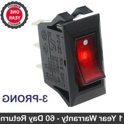 Zing Ear ZE-215 Red Lighted Rocker Switch ON OFF 3 Prong Sna