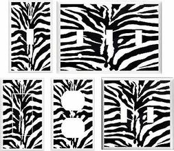ZEBRA PRINT BLACK AND WHITE LIGHT SWITCH COVER PLATE #3   U